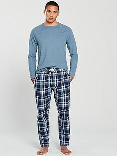v-by-very-blue-long-sleeved-jersey-top-woven-check-bottoms