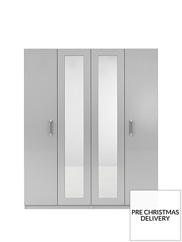 sanfordnbsp4-door-high-gloss-mirrored-wardrobe