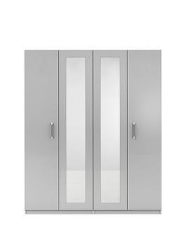 Very Sanford 4 Door High Gloss Mirrored Wardrobe Picture