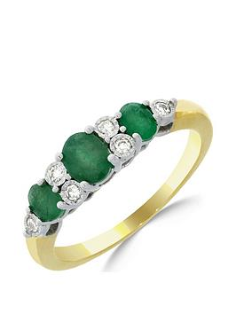 Love GEM Love Gem 9Ct Gold Emerald & 7 Point Diamond Eternity Ring Picture