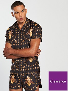 hermano-short-sleeve-bee-broach-print-shirt