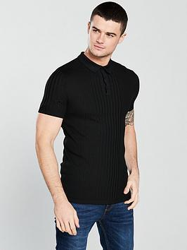 river-island-short-sleeve-rib-polo