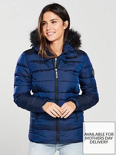 58d49b9e81e Superdry Taiko Padded Faux Fur Jacket - Blue