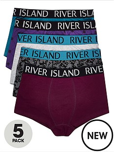 river-island-flocked-trunks-5-pack--nbspmultinbspcolour