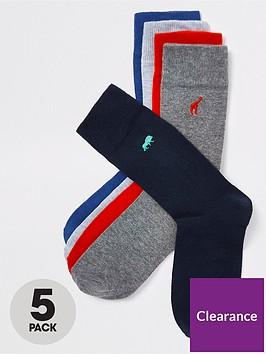 river-island-emb-coloured-animal-5pk-socks