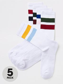 river-island-multi-stripe-tube-5pk-socks