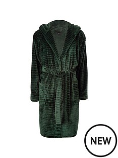 river-island-green-r96-hooded-fleece-dressing-gown
