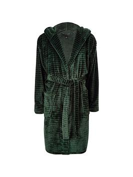 River Island Green R96 Hooded Fleece Dressing Gown Littlewoodscom