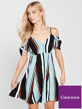 river-island-river-island-stripe-cold-shoulder-slip-dress--blue
