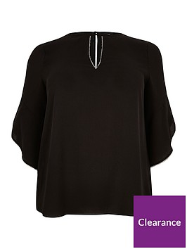 ri-plus-embellished-trim-blouse-black
