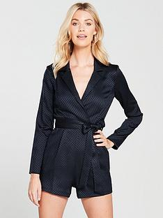 river-island-jacquard-tux-playsuit--navy