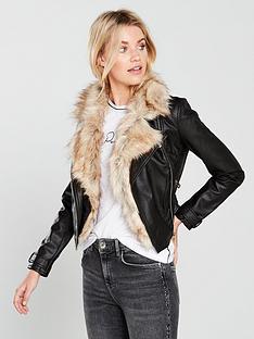 river-island-river-island-faux-fur-trim-biker-jacket--black