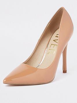 river-island-patent-stiletto-court-shoe--nbspbeige-honey