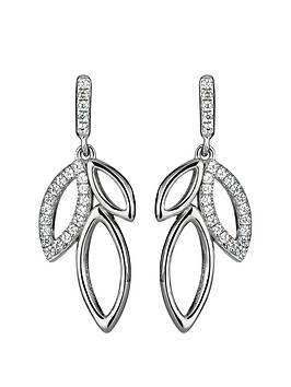 the-love-silver-collection-sterling-silver-cubic-zirconia-leaf-drop-earrings