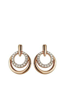 love-gold-rose-gold-plated-sterling-silver-cubic-zirconia-double-circle-stud-earrings