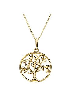 love-gold-9ct-gold-tree-of-life-round-pendant-necklace