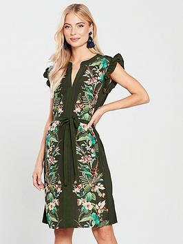 oasis-caron-ruffle-shirt-dress-multi