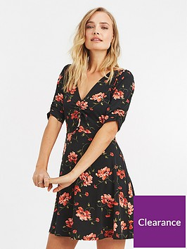 oasis-rose-print-rouched-tea-dress