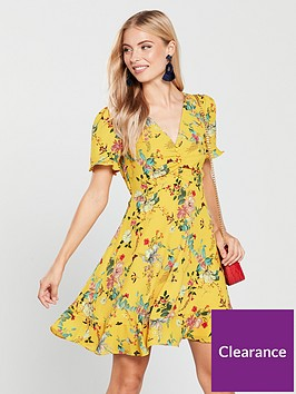 oasis-fitzwilliam-ruched-front-tea-dress-yellownbsp