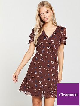 oasis-ditsy-chiffon-tea-dress-brown