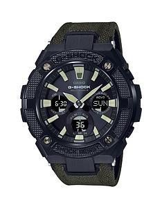 casio-casio-g-shock-g-steel-radio-controlled-solar-black-ip-chronograph-dial-green-fabric-strap-mens-watch