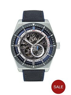 boss-skeleton-black-ip-dial-fabric-strap-mens-watch