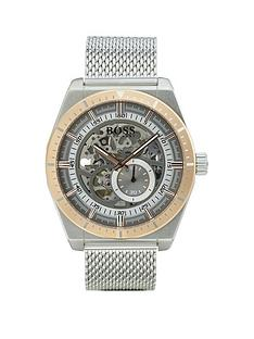 boss-skeleton-rose-gold-plated-dial-stainless-steel-mesh-strap-mens-watch