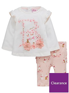 414da5475da4 Baker by Ted Baker Baby Girls 2 Piece Graphic Top and Frill Leggings Outfit  - Light Pink
