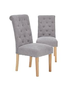 Very Pair Of Fabric Scroll Back Dining Chairs - Grey Picture