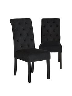 pair-of-velvet-scroll-back-dining-chairs-black
