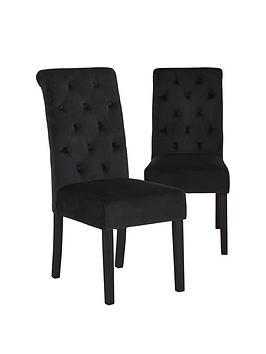 pair-of-velvet-scroll-back-dining-chairs-black
