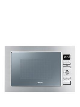 smeg-cucina-fmi425s-25-litre-built-in-microwave-with-grill-silver-glass