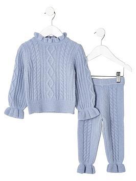river-island-mini-girls-blue-cable-knit-jumper-set