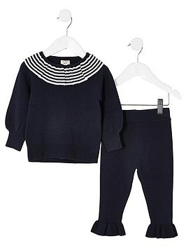 river-island-mini-girls-navy-knit-clown-collar-outfit
