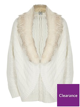 river-island-girls-cream-cable-knit-faux-fur-cardigan