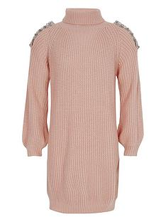 river-island-girls-pink-knit-cold-shoulder-jumper-dress