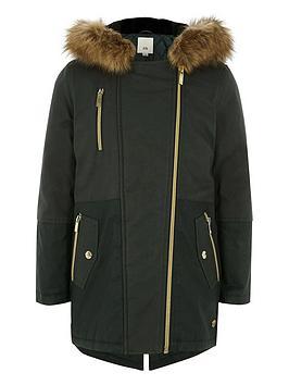 river-island-girls-khaki-faux-fur-trim-parka-jacket
