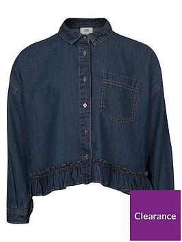 river-island-girls-long-sleeve-denim-frill-hem-shirt