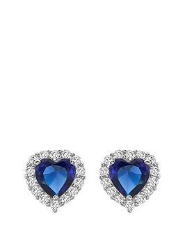 Love GEM Love Gem 9Ct White Gold Sapphire & Cubic Zirconia Heart Stud Halo  ... Picture