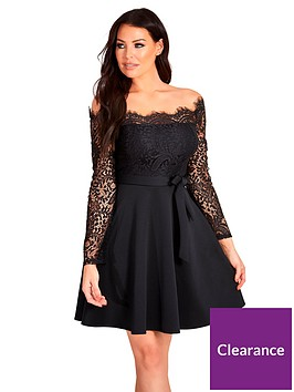 sistaglam-loves-jessica-lace-top-tie-waist-off-the-shoulder-skater-dress-black