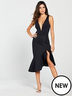 lavish-alice-lavish-alice-v-neck-plunge-scuba-midi-dress