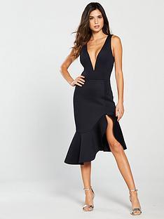 lavish-alice-v-neck-plunge-scuba-midi-dress-black