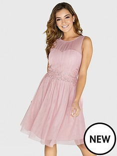 little-mistress-mesh-embellished-waist-skater-dress-rose