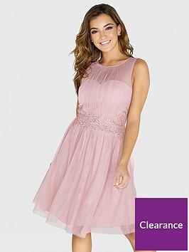 little-mistress-mesh-embellished-waist-skater-dress-rose