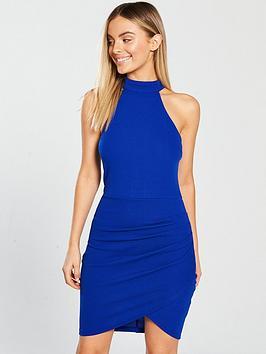ax-paris-halterneck-ruched-front-mini-dress-cobalt-blue