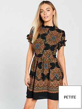 ax-paris-printed-fit-and-flare-mini-dress-blacknbsp