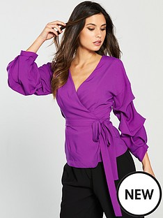 lavish-alice-gathered-sleeve-wrap-shirt