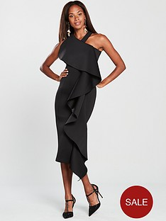lavish-alice-scuba-exaggerated-frill-halter-neck-midi-dressnbsp--black