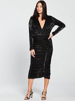 lavish-alice-pleated-sequin-ruched-side-midi-dress-black