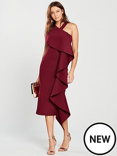 lavish-alice-scuba-statementnbspfrill-halter-neck-midi-dress-burgundy